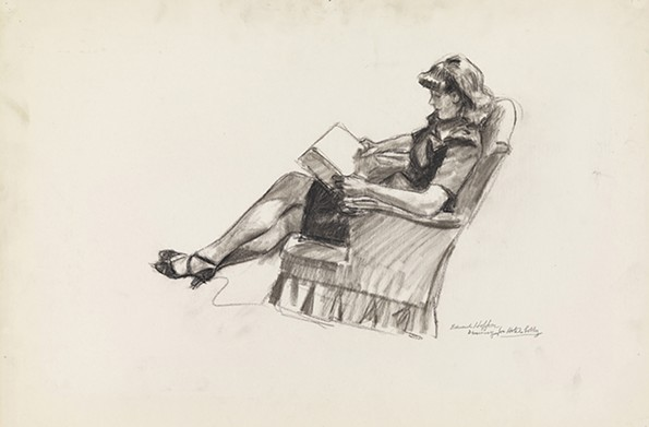 """Study for Hotel Lobby"" (1942) is one of 10 preliminary sketches 10 for the 1942 oil painting ""Hotel Lobby."" - VIRGINIA MUSEUM OF FINE ARTS"