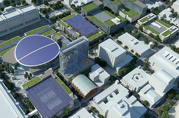 A rendering of the proposed project offers an idea of what the neighborhood would look like, with the circular building at top left as a 17,500-seat arena. - CAPITAL CITY PARNTERS LLC