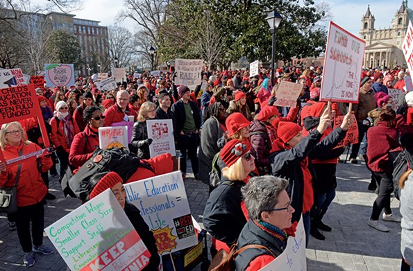 The Red for Ed demonstration in Monroe Park to demand increased school funding and teacher pay increases. - SCOTT ELMQUIST/FILE