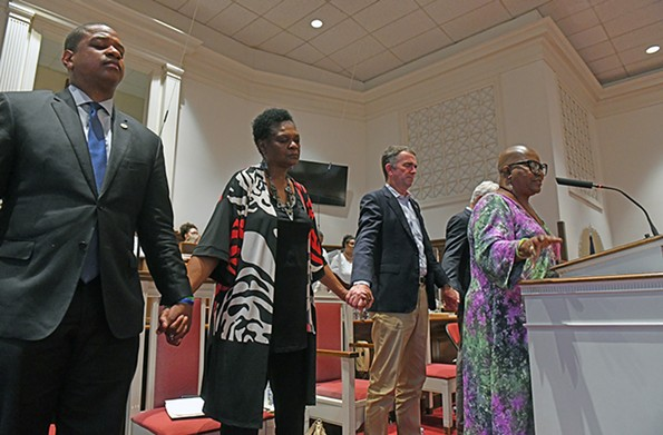A Stop the Gun Violence Rally on July 7 at 31st Street Baptist Church. Two days later, the governor implored lawmakers to consider passing new gun legislation at a special session. - SCOTT ELMQUIST/FILE