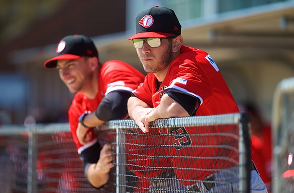 Jonathan deMarte, right, and a Perth Heat teammate observe play against the Adelaide Giants last weekend. - COURTESY THE PERTH HEAT