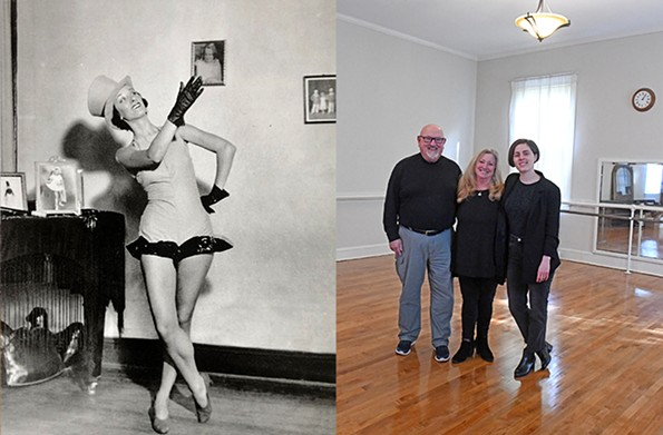 Merida Marston, at right, granddaughter of esteemed dance teacher Julia Mildred Harper (left photo c. 1940), with her mother, Nancy Marston Rechenbach, and her stepfather, Ronald Rechenbach, in the studio wing of the family home at 3511 Chamberlayne Ave. that is on the market.