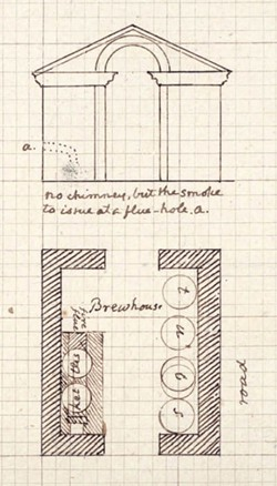 Undated plans for a brew house at Monticello depicting design and elevation. A brew house was put into operation at Monticello by 1814. Its location and whether it was made to this design are unknown. - THOMAS JEFFERSON FOUNDATION AT MONTICELLO