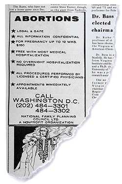 Richmond's commonwealth's attorney threatened then-editor Bill Royall with arrest after running this abortion ad in 1972.