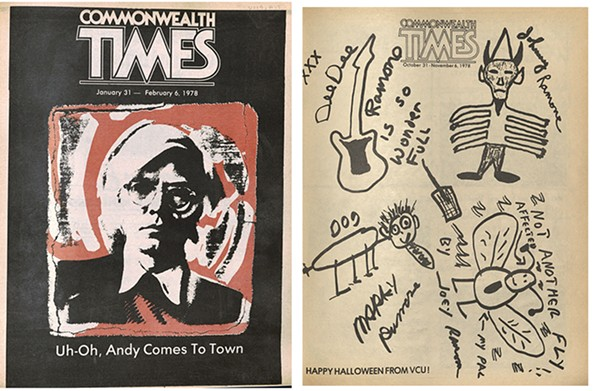 The CT covers Andy Warhol's visit to town, featuring art by Michael Sherbert. The Ramones sprawled on the floor to draw this cover when they played the VCU Halloween Dance in 1978.