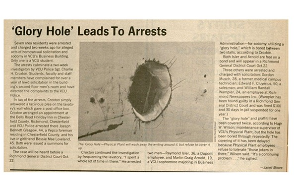 The newspaper's coverage of seven arrests for homosexual solicitation and sodomy at VCU's Business Building in 1981.