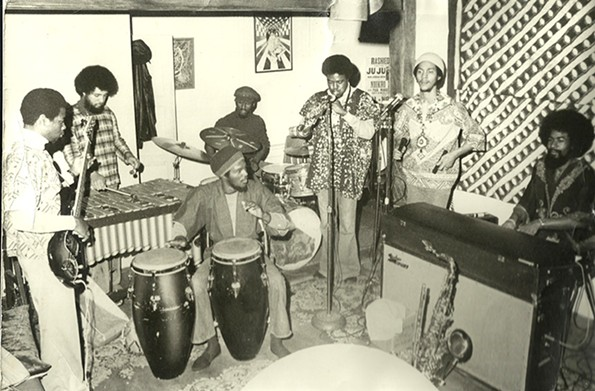 Oneness of Juju rehearses at Kahero Gallery, Branch's home and art space in Church Hill, in late 1974 or early 1975. - LEW HARRISON