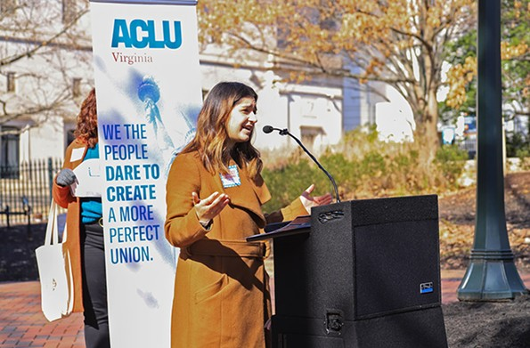 Ashna Khanna, legislative director of the ACLU of Virginia, speaks downtown. - ACLU OF VIRGINIA