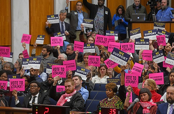 On Monday, Feb. 10, opponents and proponents of the Navy Hill proposal showed up early to City Council chambers for an informal meeting. - SCOTT ELMQUIST/FILE