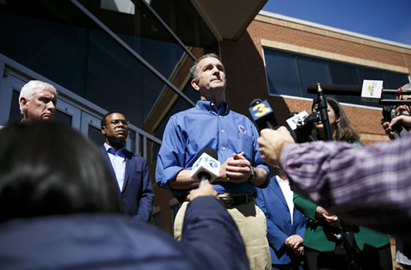 Gov. Ralph Northam addresses the media outside of Sentara's COVID-19 Command Center in Virginia Beach on March 14. - KRISTEN ZEIS/THE VIRGINIAN-PILOT