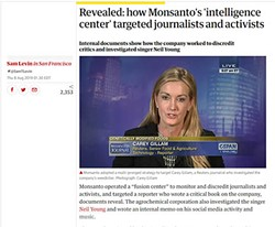 A screenshot of an article on Monsanto's campaign against journalists and activists that ran in The Guardian on Aug. 8, 2019.