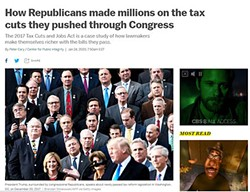 A screenshot of a story from Vox on Jan. 24, 2020, that outlined how Republicans made millions on tax cuts they pushed through Congress.