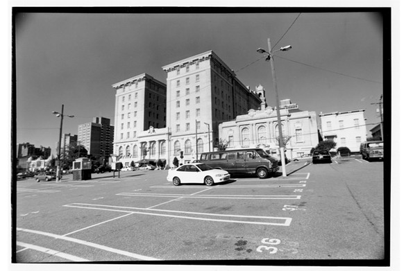 """The ballroom of the Jefferson Hotel, at center, on West Main Street was where """"My Dinner with André"""" was filmed over two weeks in December 1980. The storied hotel had just closed in September and faced an uncertain future. The landmark hostelry reopened in spring 1986 after a complete restoration."""