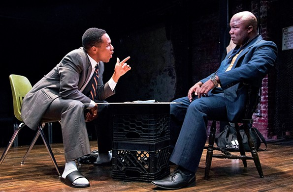 """Jamar Jones as Booth and Jeremy V. Morris as Lincoln in TheatreLab's """"Topdog/Underdog"""" which ran in May of 2018."""