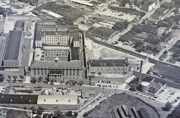 Now demolished, the Virginia State Penitentiary is shown from above in this 1971 image. Its former grounds included land and buildings at South Second and Spring streets in Richmond. - PHOTO COURTESY DALE M. BRUMFIELD