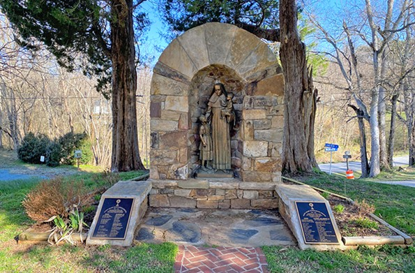 The small shrine in St. Joseph's churchyard honors the first United States-born citizen canonized as a saint. - SCOTT ELMQUIST