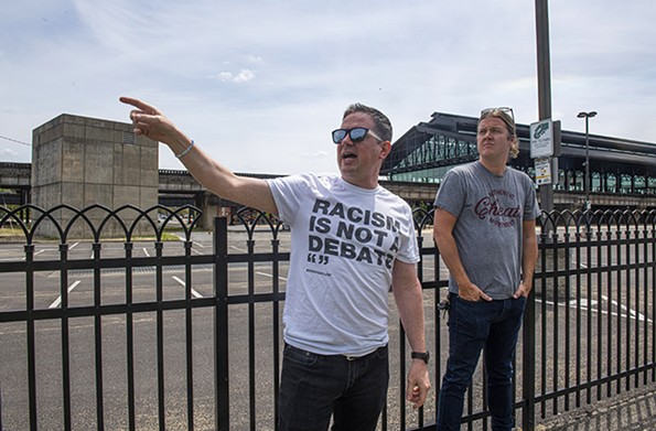 Dean Browell and David Waltenbaugh at the site of Lumpkin's Jail. - SCOTT ELMQUIST