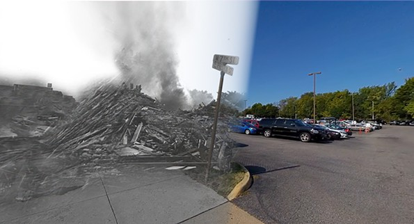 This photo illustration shows the destruction of Navy Hill compared to what the area nearby looked like in 2020. - HIDDEN IN PLAIN SITE