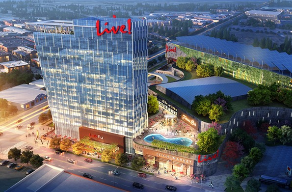 A rendering of Live! Casino, a 70,000-square-foot, multi-event space proposed for a 17-acre tract of land at the Movieland site at 1301 N. Arthur Ashe Blvd. - LIVE! CASINO & HOTEL RICHMOND
