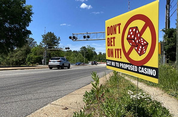 An anti-casino sign is posted on Forest Hill Avenue. - SCOTT ELMQUIST