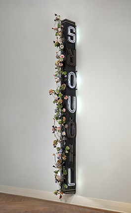 """Nari Ward, """"Xquisite Liquorsoul,"""" 2009, metal and neon sign, wood with artificial flowers, shoelaces, shoe tips. - VIRGINIA MUSEUM OF FINE ARTS"""