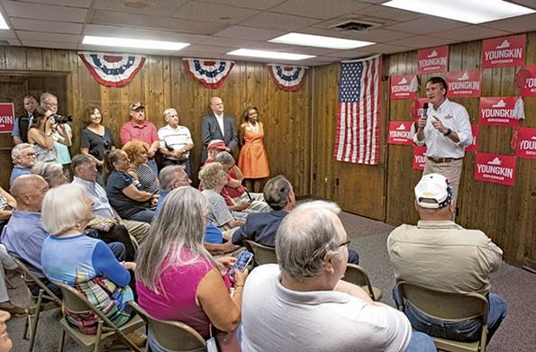 Gubernatorial candidate Glenn Youngkin addresses supporters in Emporia. - SCOTT ELMQUIST