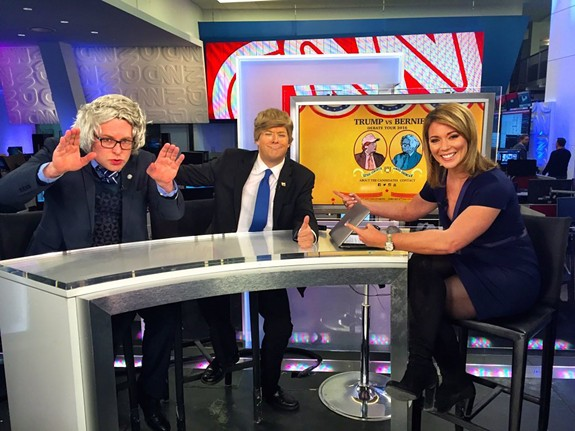 The comedians James Adomian (Sanders) and Anthony Atamanuik (Trump)  recently appeared on CNN with host Brooke Baldwin.
