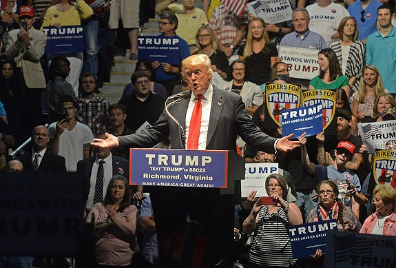 """""""Our country needs a winner,"""" Donald Trump told a crowd during a rally June 10 at the Richmond Coliseum. - SCOTT ELMQUIST"""