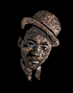 A portrait of legendary Richmonder Mr. Bojangles made with pennies by artist Noah Scalin. - NOAH SCALIN
