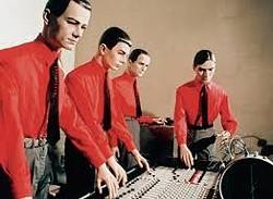 Electronic pioneers Kraftwerk rocking away.