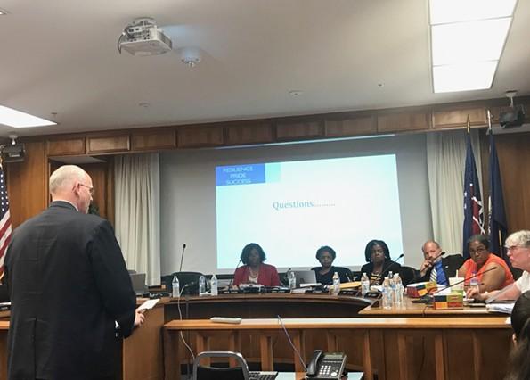 Interim Superintendent Thomas Kranz addresses the Richmond School Board on Monday, July 17, about a memorandum of understanding with the state board of education. - JACKIE KRUSZEWSKI