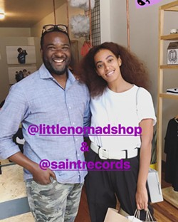A photo of Little Nomad owner Anthony Bryant and Solange Knowles that he posted on the store's Instagram. Used with permission.