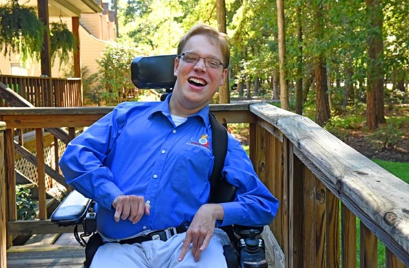 Matthew Shapiro, 26, is watching the national healthcare debate closely. He uses Medicaid and private insurance to purchase things such as his wheelchair, and both are subject to change under new legislation. - SCOTT ELMQUIST