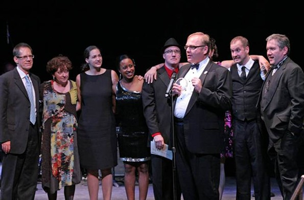 "The cast of the Richmond Triangle Players' ""This Beautiful City"" accepts the first-ever people's choice award, selected through $5 apiece votes at the 2011 Artsies. - JAY PAUL"