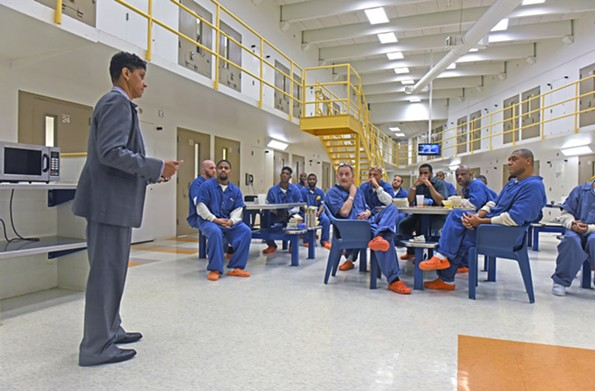 On her 10th day as sheriff, Antionette Irving meets with inmates on the sixth floor at the city jail. - SCOTT ELMQUIST