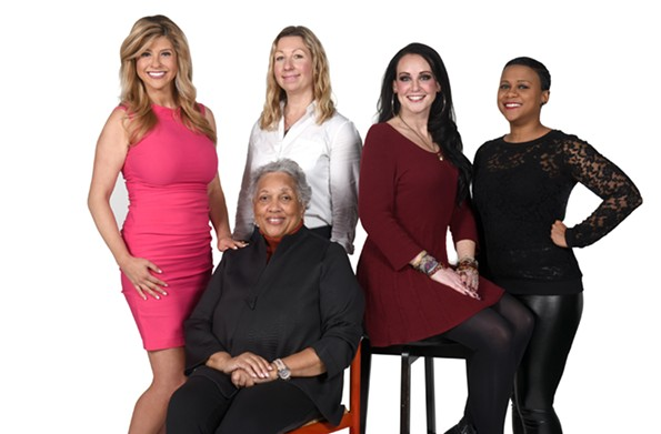 Nikki-Dee Ray, meteorologist for WTVR CBS-6, Paige Mudd, executive editor of the Richmond Times-Dispatch, Melissa Chase, morning host at 103.7 Play, and Kelli Lemon, host of the Coffee with Strangers podcast, stand behind  Jean Boone, the publisher of the Richmond Free Press. - SCOTT ELMQUIST
