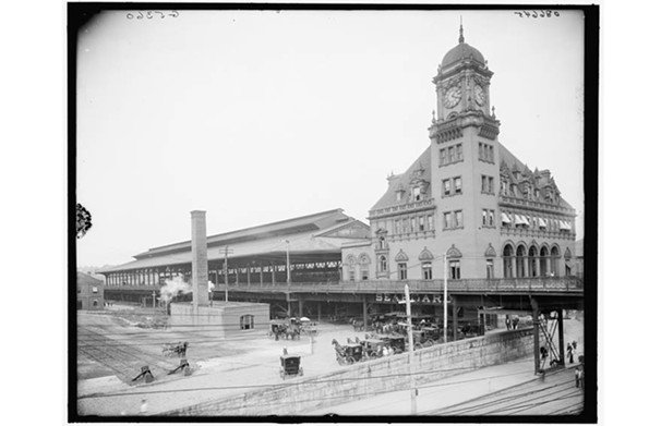 Main Street Station, soon after completion in 1901, featured raised railroad tracks, platform and shed. They continue to protect operations from flooding.