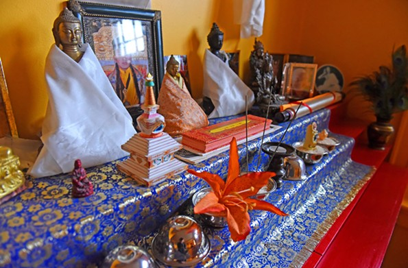The aesthetics at Ekoji are generally sparse, but the Tibetan Buddhist room is filled with color, statues and musical instruments. - SCOTT ELMQUIST
