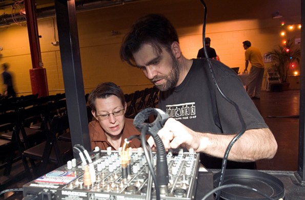 The festival's former vice president, James Parrish, with the late experimental filmmaker Diane Bonder at Plant Zero in 2005. - PHOTO COURTESY THE JAMES RIVER FILM FESTIVAL