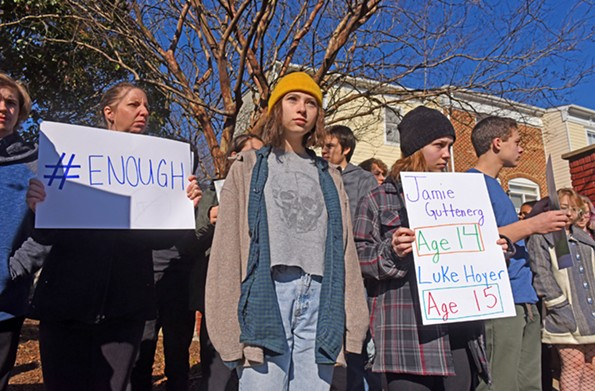Open High School students line Belvidere Street for 17 minutes of silence in support of the students and educators who died in last month's school shooting in Parkland, Florida. - SCOTT ELMQUIST