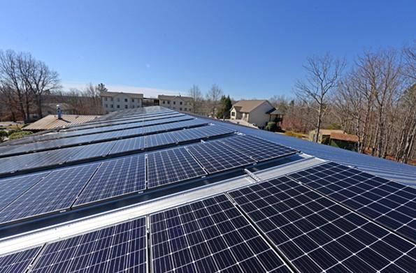 Yogaville's administration building has solar panels. - SCOTT ELMQUIST