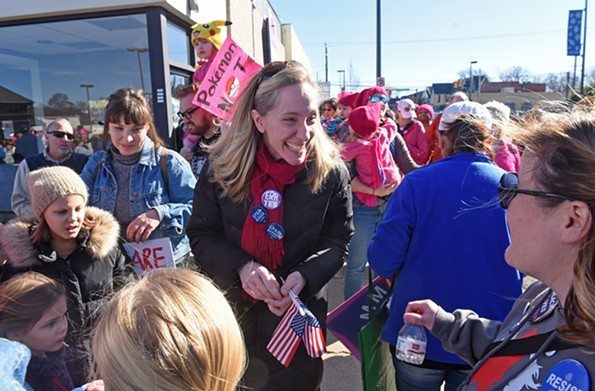 Spanberger shows a gentler side on the campaign train at the  Women's March RVA in Carytown on Jan. 20. - SCOTT ELMQUIST
