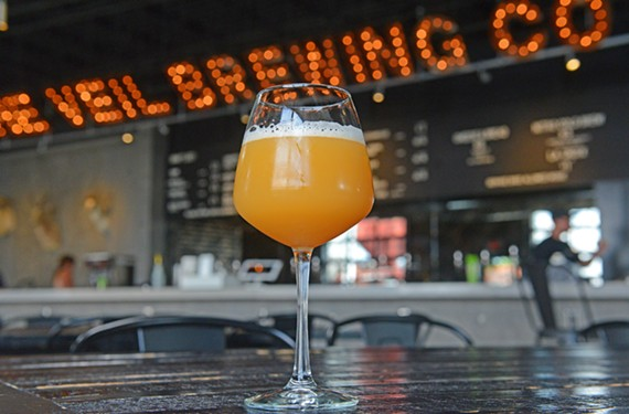 The Greenferrari, a double IPA, is one of several pale ales available at the Veil Brewing Co.
