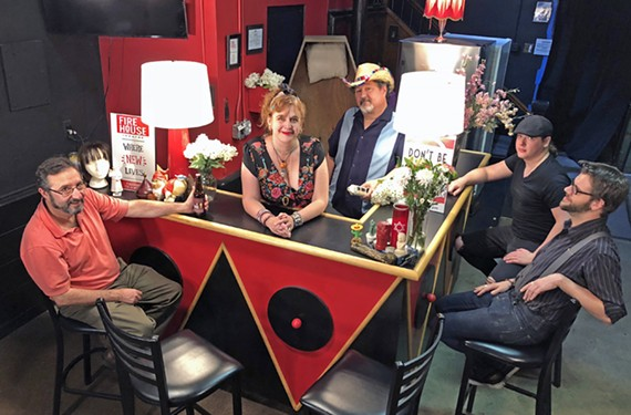 """Jack R. Johnson, Alane Cameron Ford, Phil Ford, Ryan Dygert and Todd Labelle of WRIR 97.3's """"Death Club Radio,"""" a show that spins a morbid subject into something interesting."""