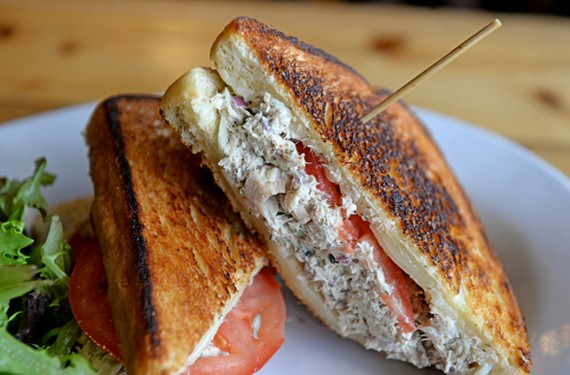 At Liberty Public House, a tuna melt with Hanover tomatoes on grilled sourdough costs $6.