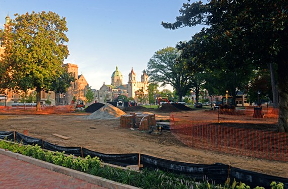 Monroe Park renovations are underway, seen here from West Main. The Cathedral of the Sacred Heart is in the distance.