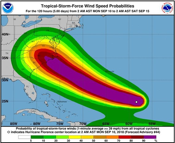 This graphic shows the tropical storm force winds probability of Hurricane Florence on Monday, Sept. 10, 2018.