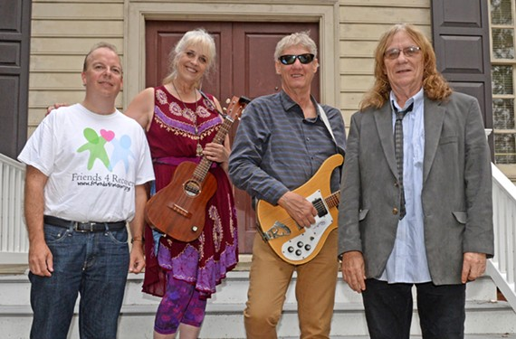 """Larry Almarode, Pam McCarthy, Brooke Saunders and Calvin Cecil stand at the Friends 4 Recovery meeting house in Chesterfield. Together, they're releasing the album """"Hope Fiendz,"""" which tells stories of recovery."""