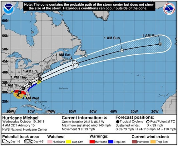 The National Hurricane Center's projected path for major Hurricane Michael as of 4 a.m. Wednesday, Oct. 10, 2018.