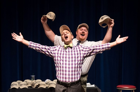 "Paul S. Major and Chris Hester as Bud and Doug, buffoons trying to pitch a Broadway musical in ""Gutenberg! the Musical"" at Dominion Energy Center."